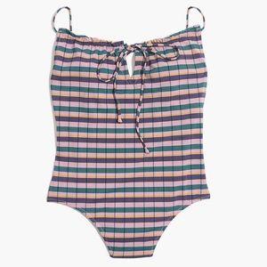 NWOT Ruffled Drawstring One-Piece Swimsuit Plaid